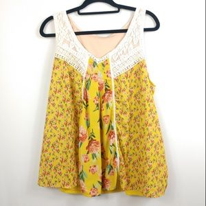 Vintage Tops - Vintage Style Yellow Floral Sleeveless V-Neck Top